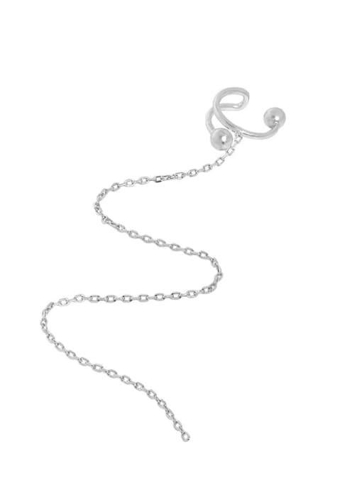 Silver [single] 925 Sterling Silver Tassel Minimalist Single Earring